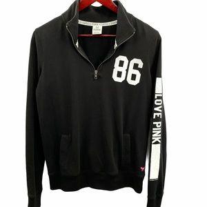 LOVE PINK 1/4 Zip Spellout Pullover Sweatshirt XS